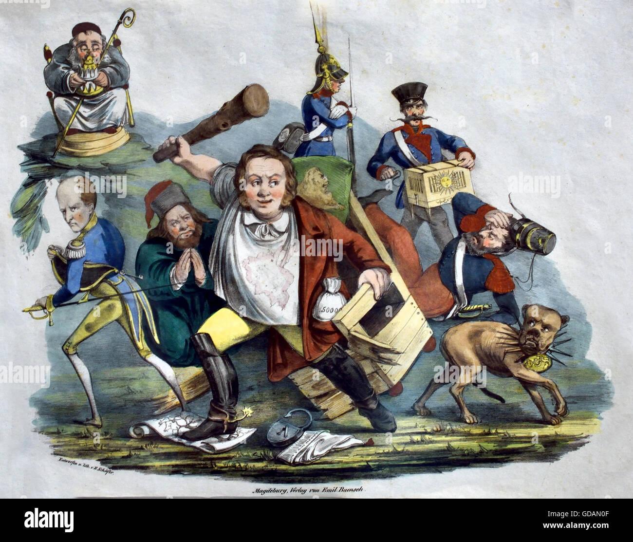 Cartoon on the political awakening of the German ( Publisher: Baensch, Emil Illustrator: Schäfer, H. 1842 ) - Stock Image