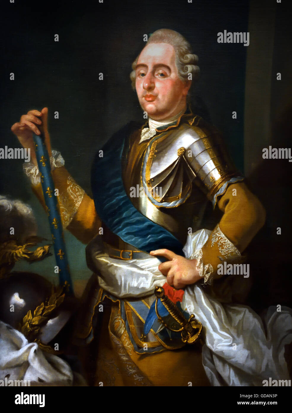 Louis XVI King of France 1774-1792  with command staff, the white sash of the Bourbons and the town red and blue - Stock Image