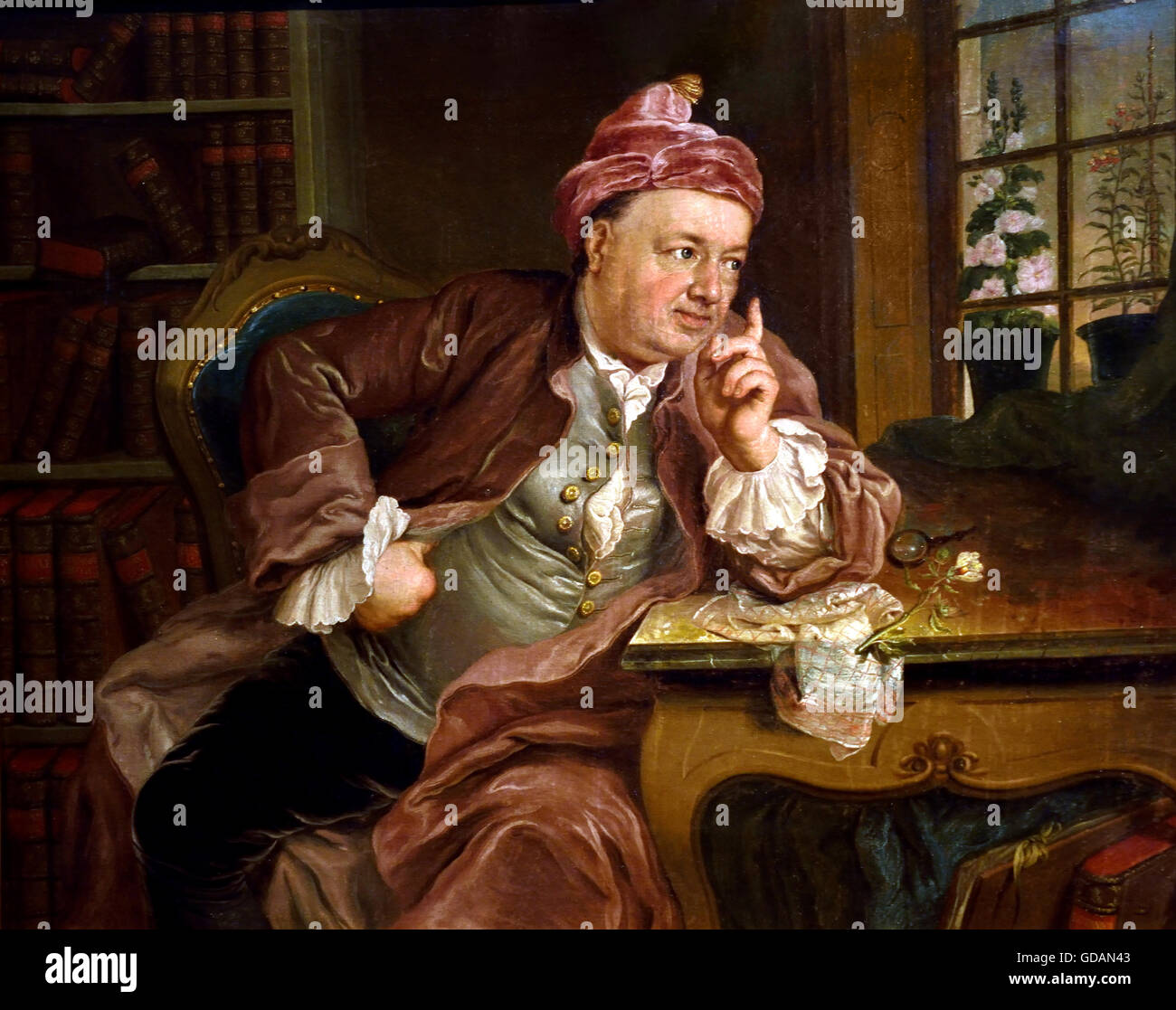 Scholar in his Study 1765  Painter Lisiewski, Anna Rosina  Germany  (  Lisiewska ) Stock Photo