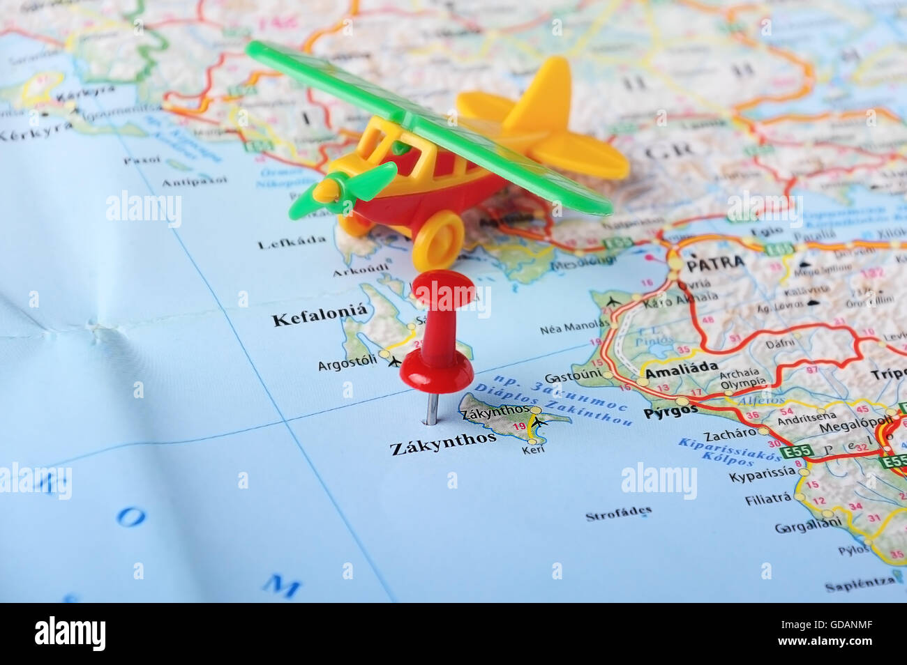 Close up of zakynthos island greece map and airplane toy stock close up of zakynthos island greece map and airplane toy travel concept gumiabroncs Images