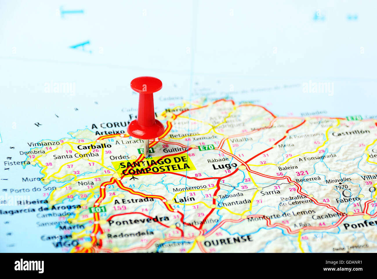 Santiago de Compostela Spain map Travel concept Stock Photo