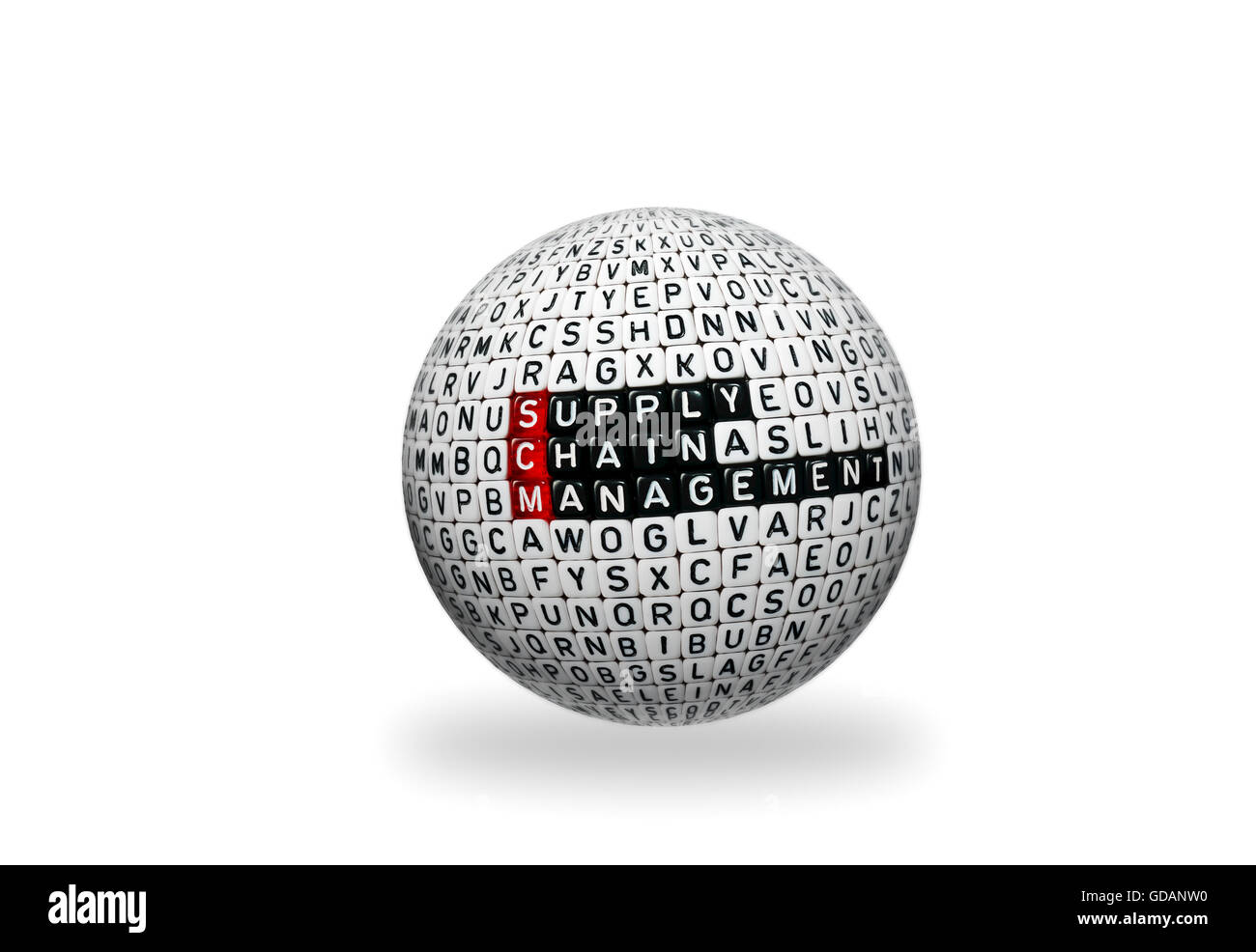 SCM Supply Chain Management written on 3d sphere on white background Stock Photo