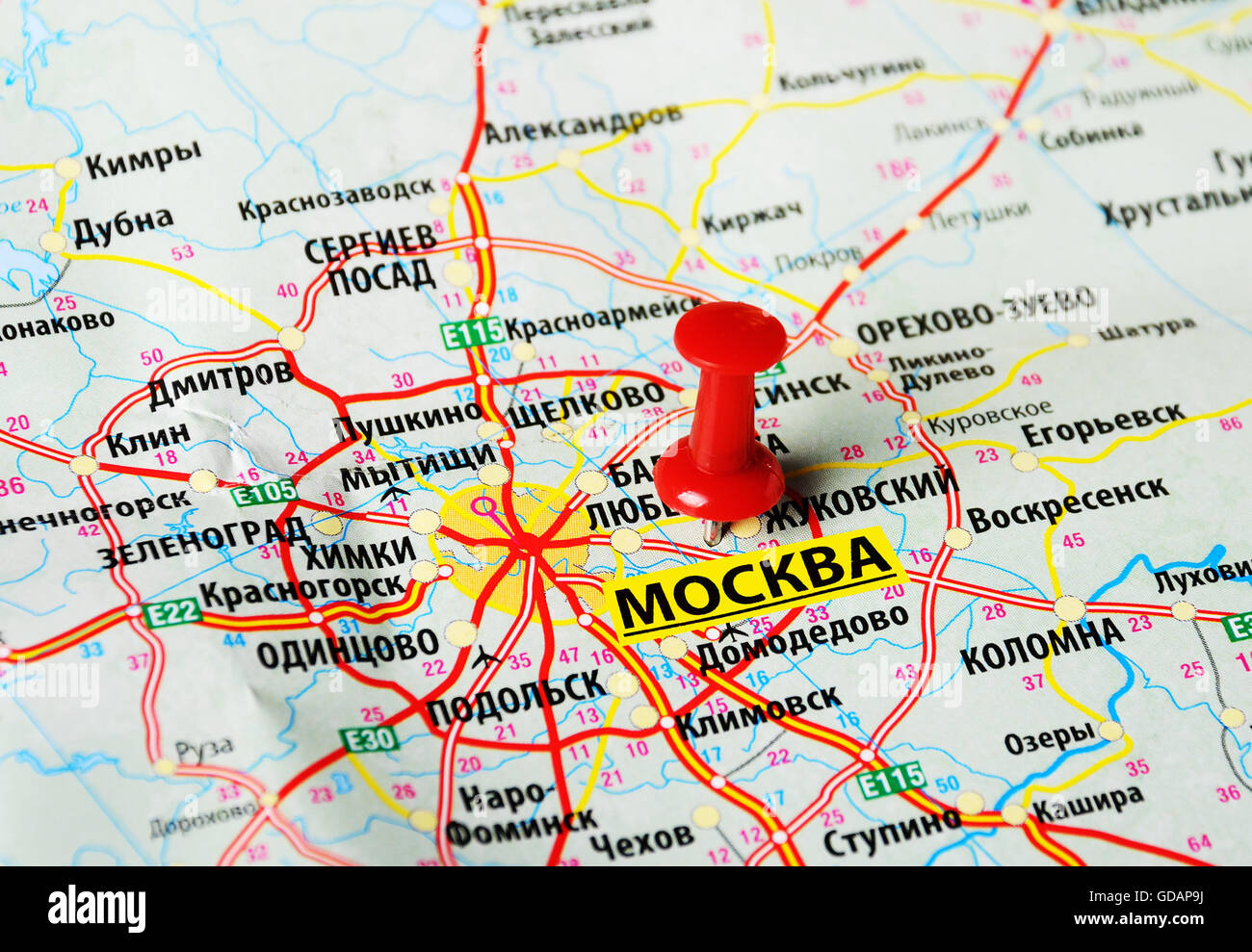 Close up of Moscow , Russia map with red pin Stock Photo: 111489774 ...