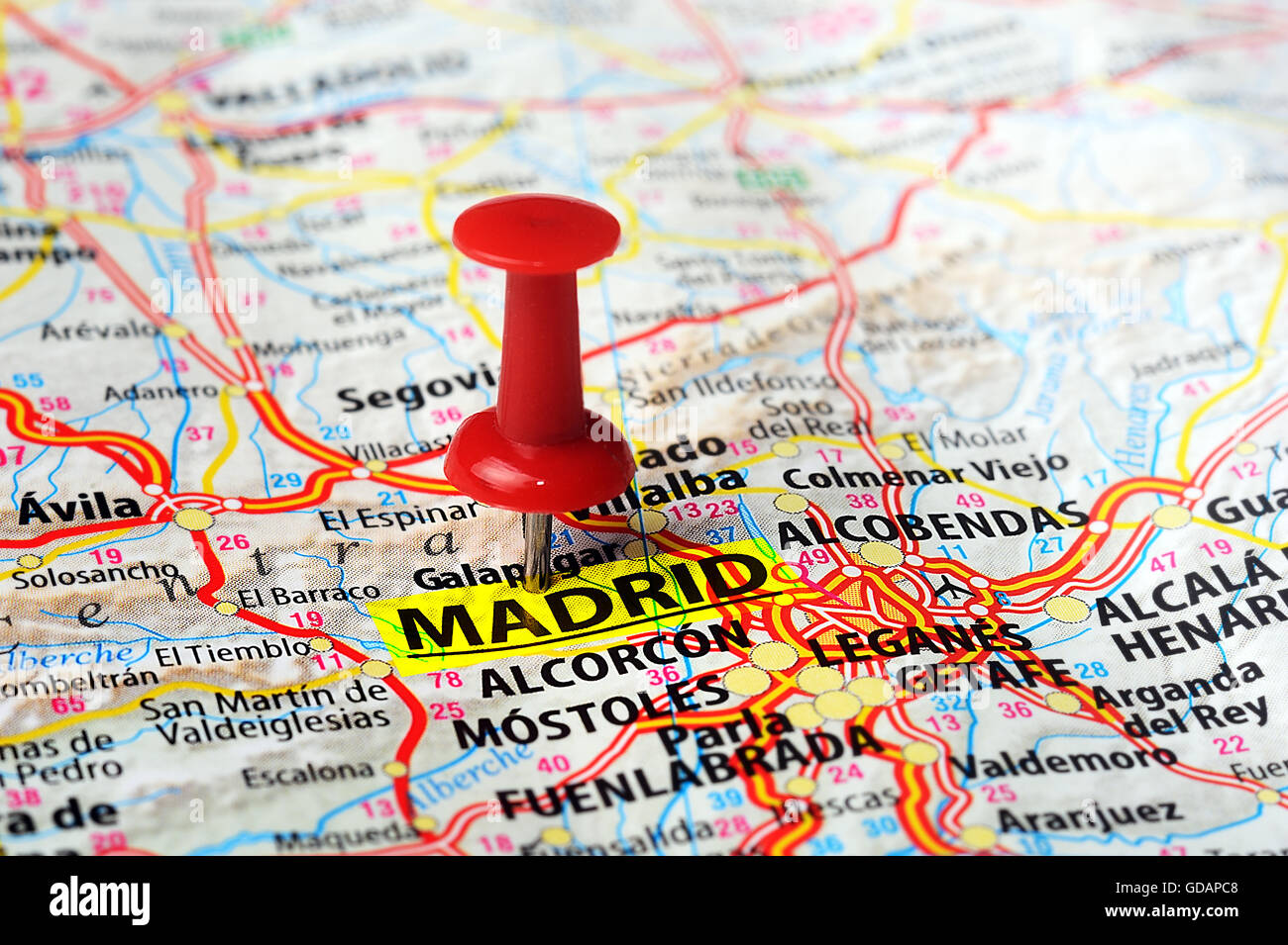 Close up of Madrid ,Spain map and red pin - Travel concept Stock ...