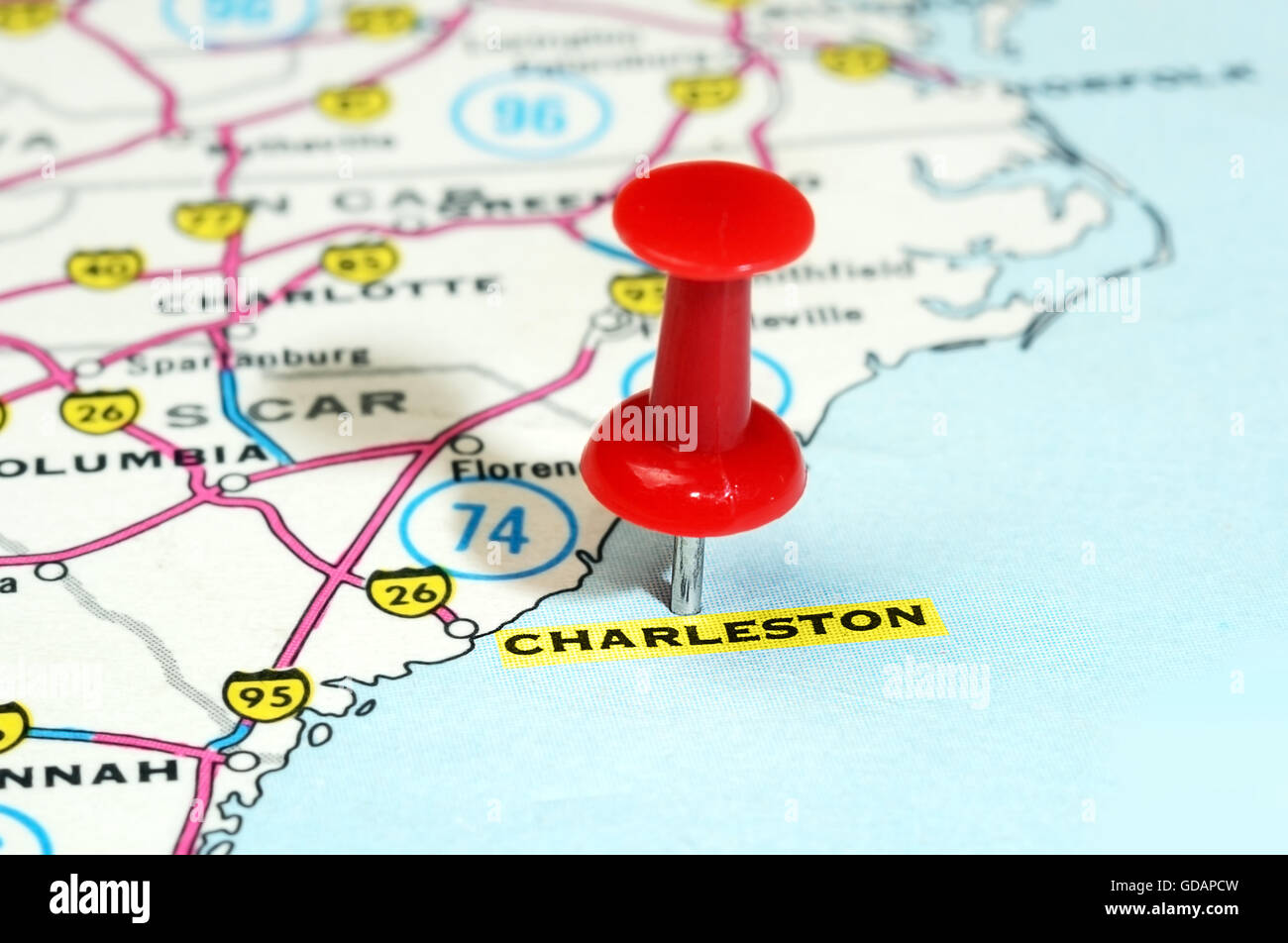 Close Up Of Charleston Carolina Usa Map With Red Pin Travel Stock