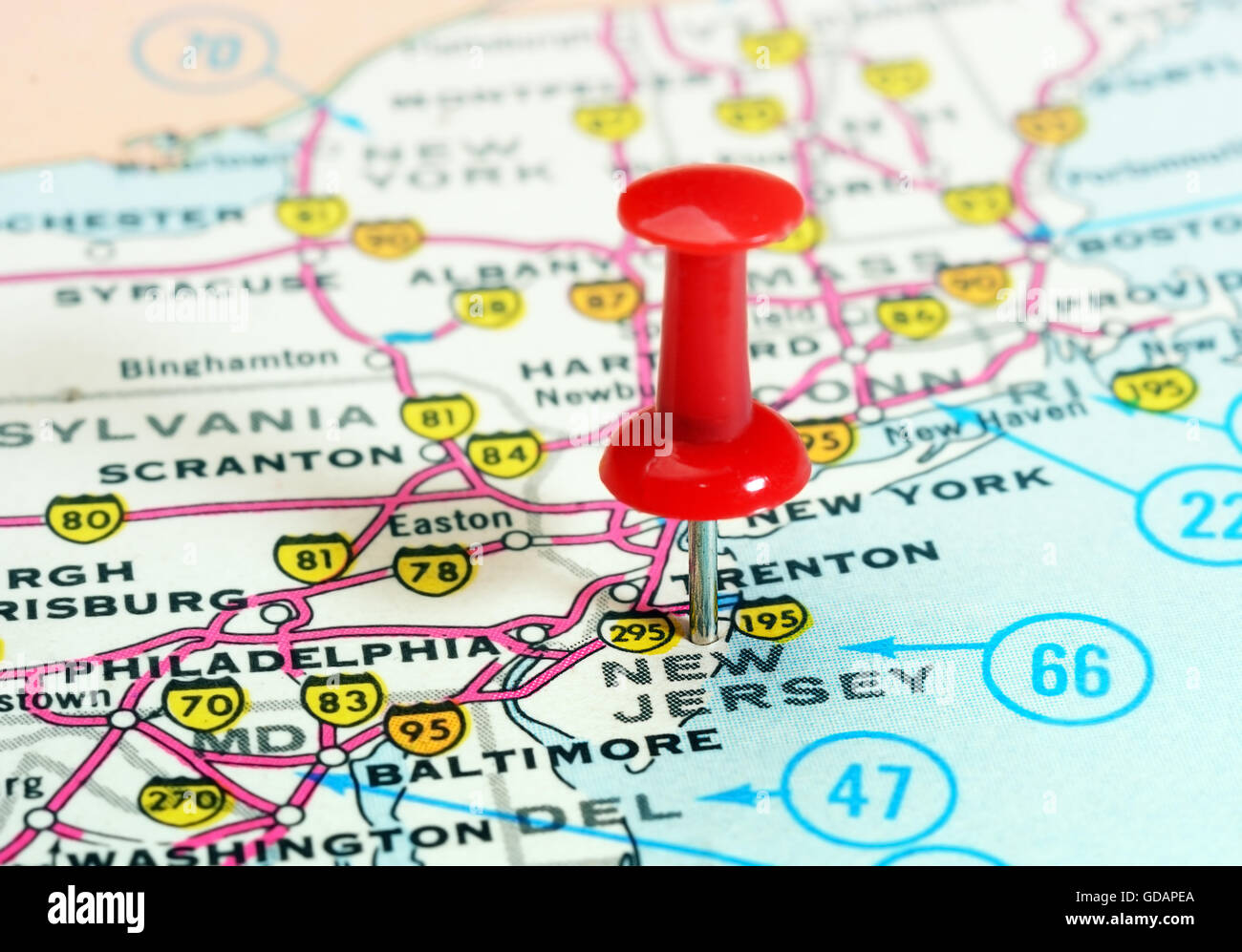 close up of new jersey state usa map with red pin travel concept