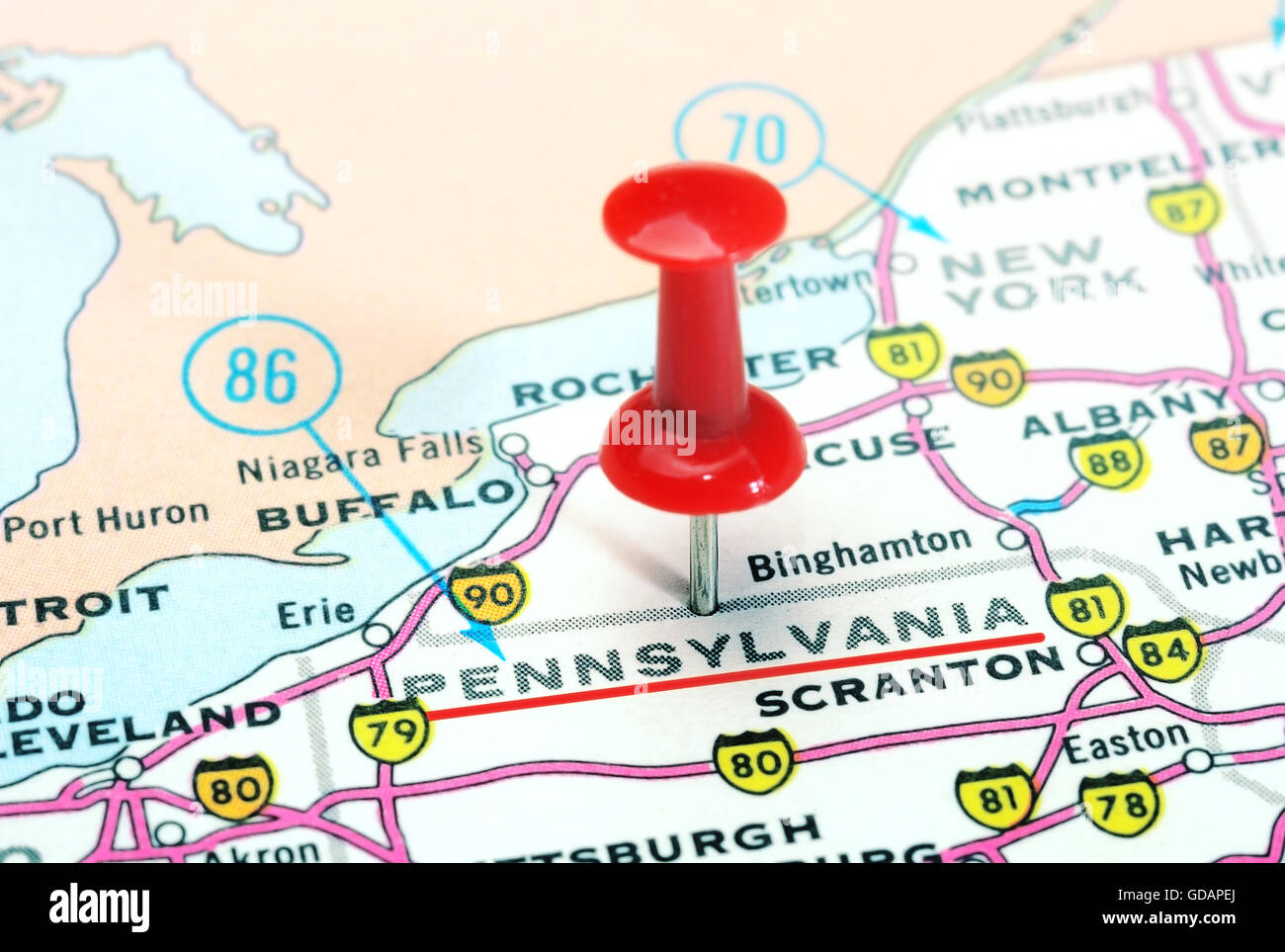 Pennsylvania In Usa Map.Close Up Of Pennsylvania State Usa Map With Red Pin Travel Stock