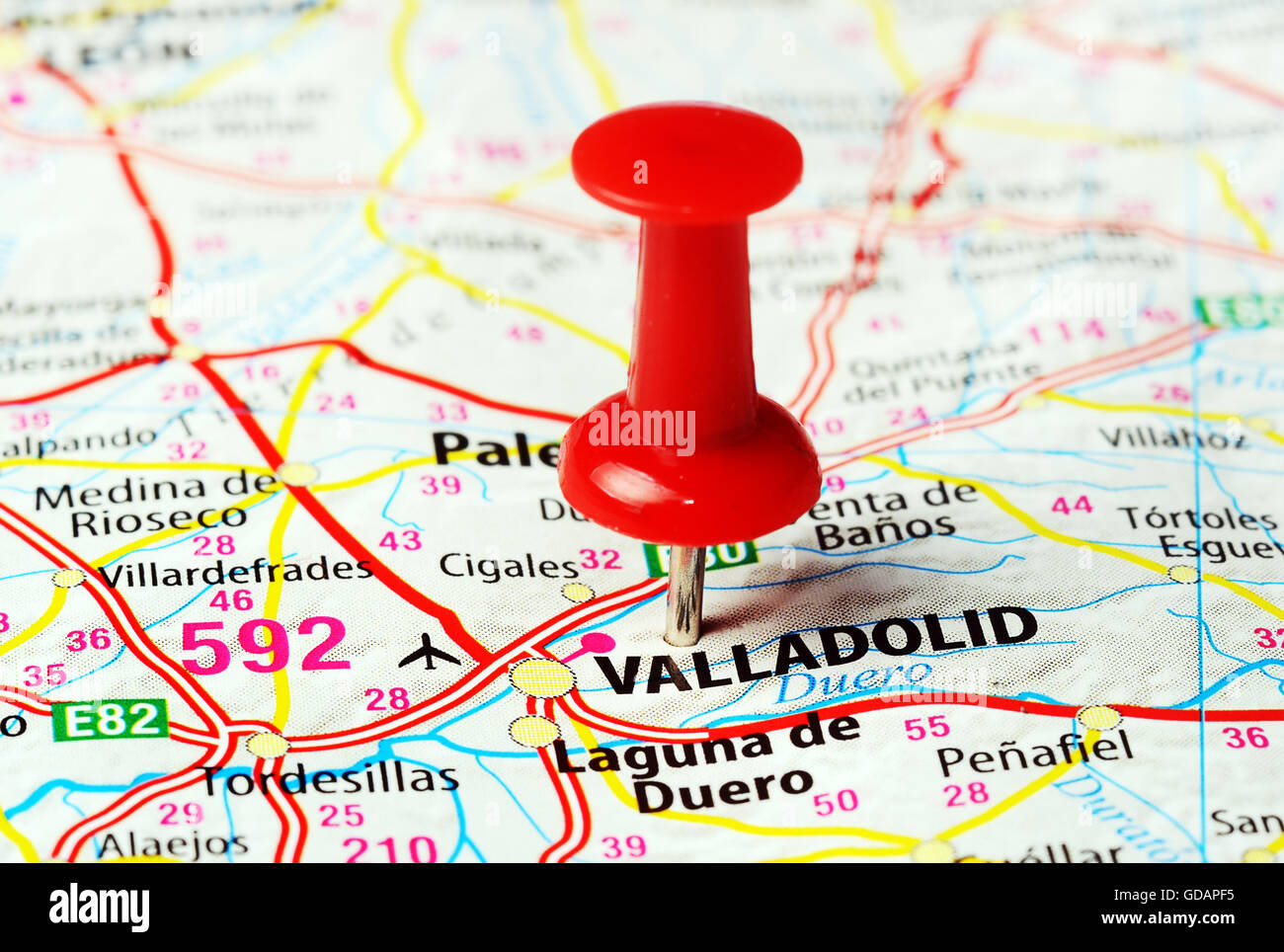 Map Of Spain Valladolid.Close Up Of Valladolid Spain Map With Red Pin Travel Concept