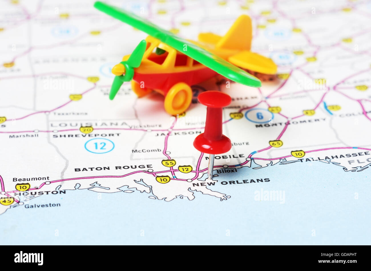 New Orleans In Usa Map.Close Up Of New Orleans Usa Map With Red Pin Airplane Travel Stock