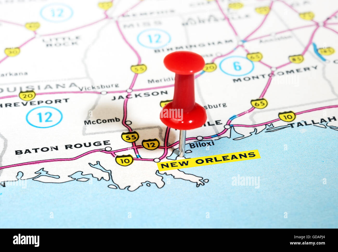 map of new orleans usa Close Up Of New Orleans Usa Map With Red Pin Travel Concept map of new orleans usa