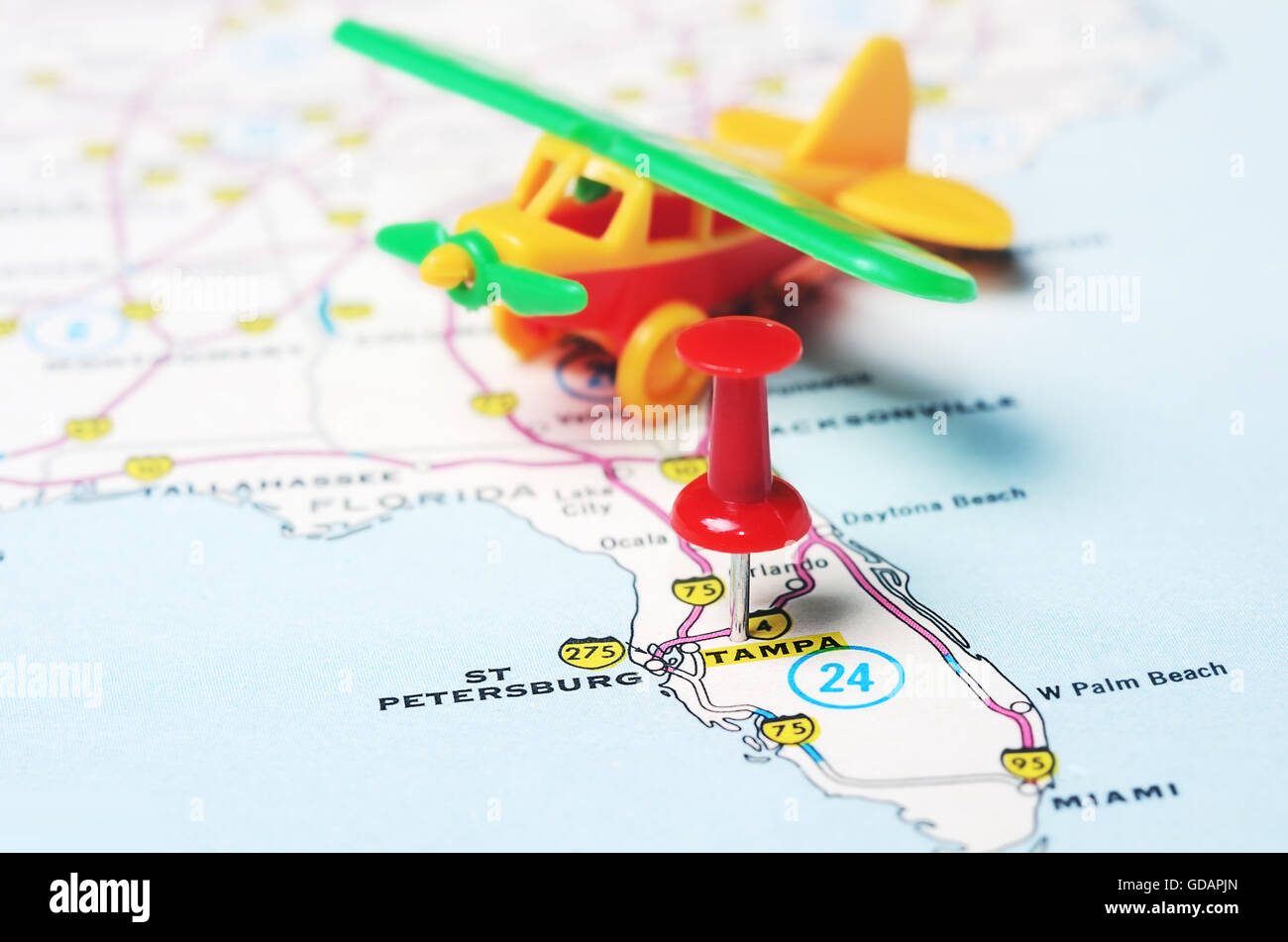 Tampa Florida Usa Map.Close Up Of Tampa Florida Usa Map With Red Pin And Airplane Toy