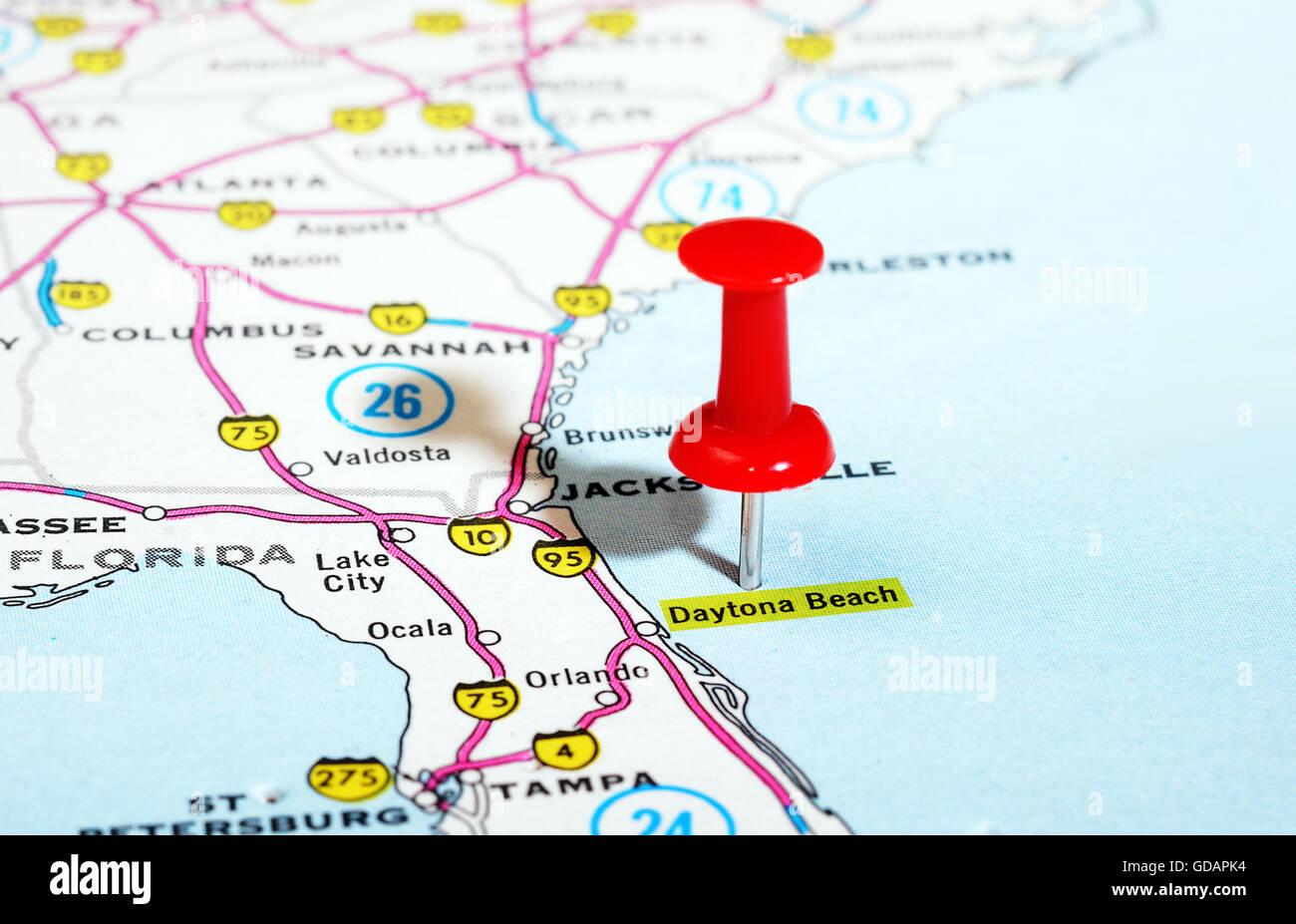 Daytona Florida Map.Close Up Of Daytona Beach Florida Usa Map With Red Pin Travel