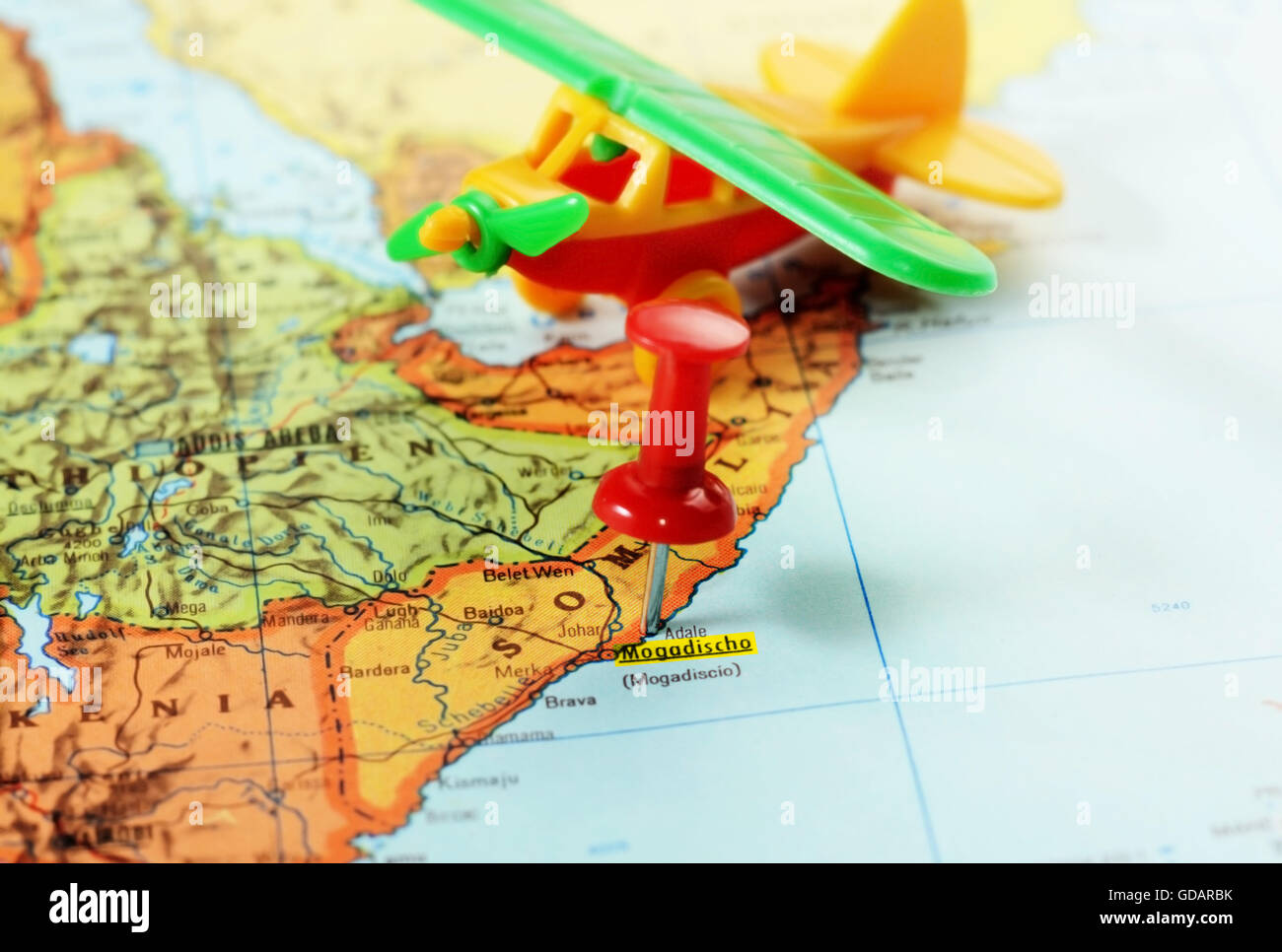 Mogadishu Africa Map.Close Up Of A Red Pushpin On A Map Of Mogadishu Somalia