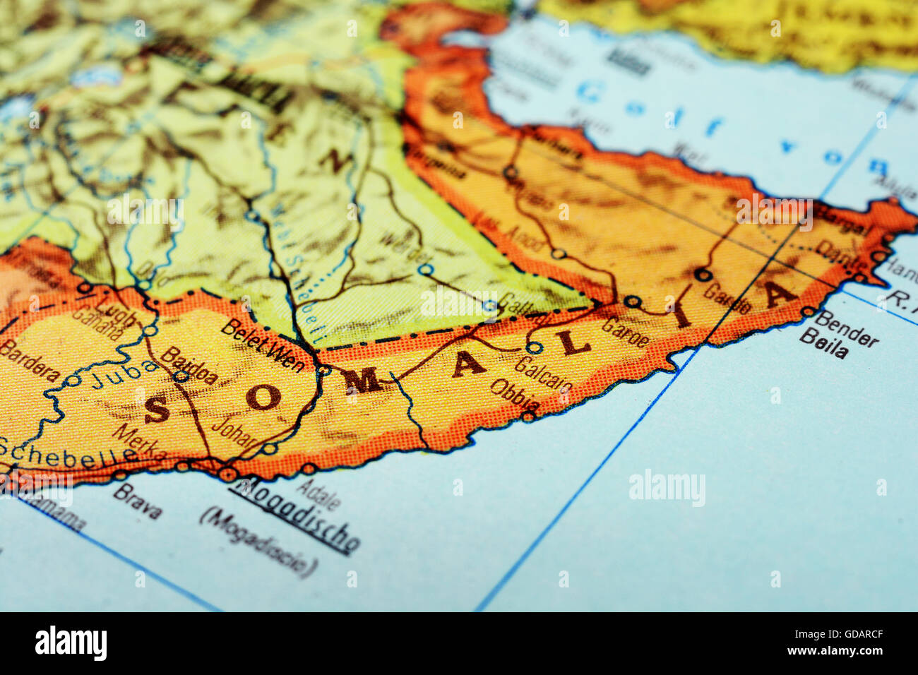 Close Up Of A Red Pushpin On A Map Of Mogadishu Somalia Africa