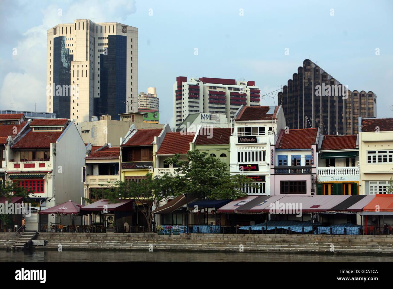 Asien, Suedost, Singapur, Insel, Staat, Stadt, City, Skyline, Zentrum, Boat Quay, Bankenviertel, Promenade, Restaurant, Stock Photo