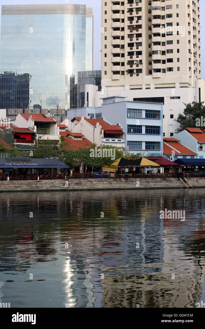 Asien, Suedost, Singapur, Insel, Staat, Stadt, City, Skyline, Zentrum, Boat Quay, Bankenviertel, Restaurant, Promenade, Stock Photo
