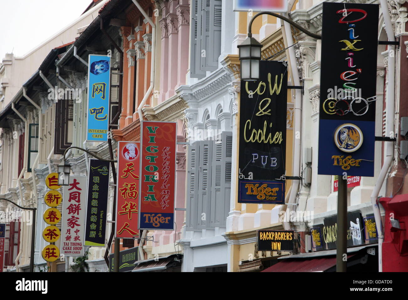 Asien, Suedost, Singapur, Insel, Staat, Stadt, City, China Town, Marktstrasse, Markt, Nachtmarkt, Gasse, Alltag, - Stock Image