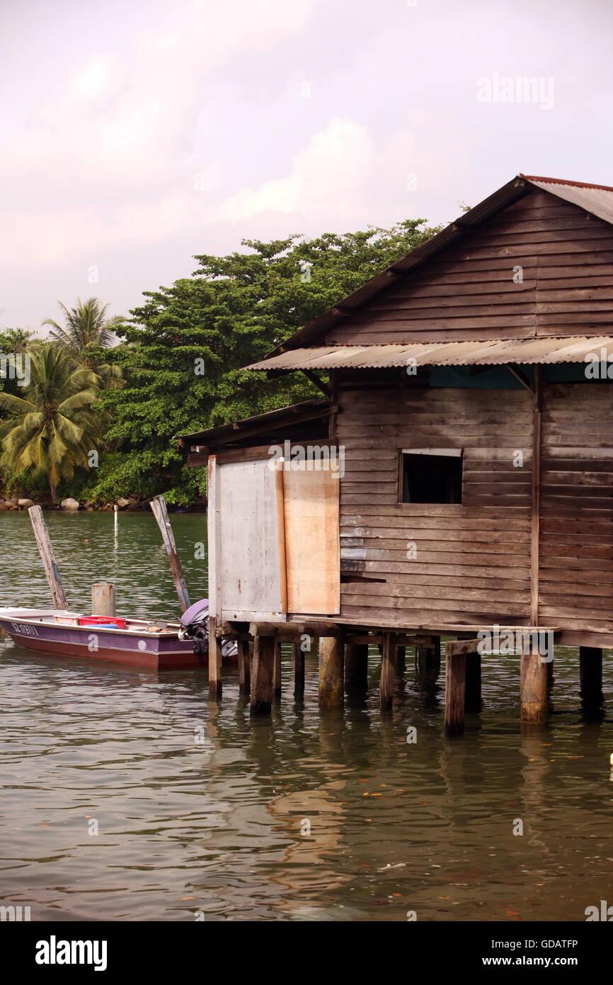Asien, Suedost, Singapur, Insel, Staat, Stadt, City, Insel, Palau Ubin, Haus, Holzhaus, Alltag, Urspruenglich, - Stock Image
