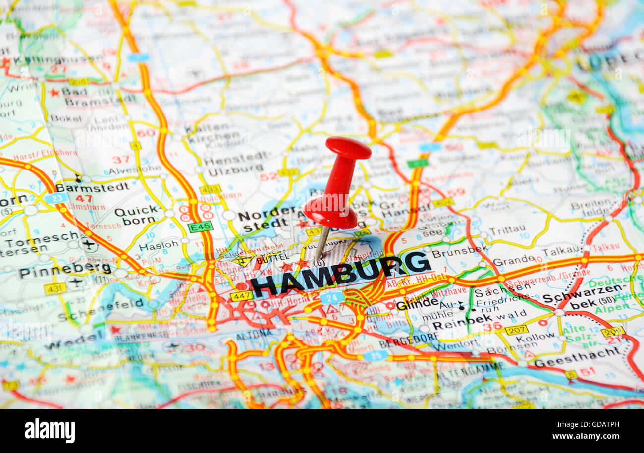 Close Up Of Hamburg Map With Red Pin Travel Concept Stock Photo