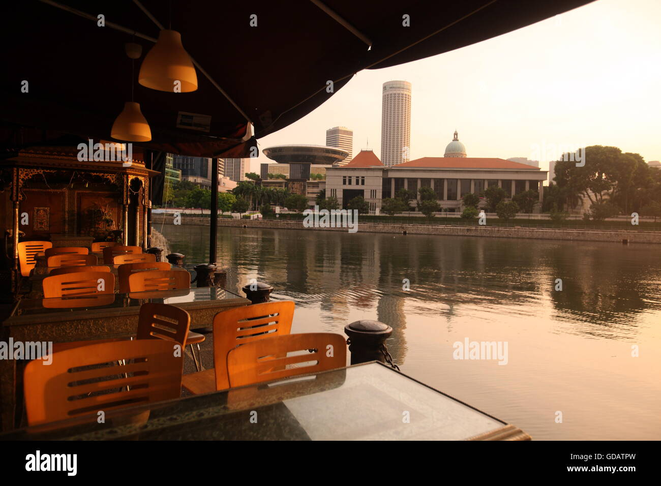 Asien, Suedost, Singapur, Insel, Staat, Stadt, City, Skyline, Zentrum, Boat Quay, Bankenviertel,  Restaurant, Stock Photo