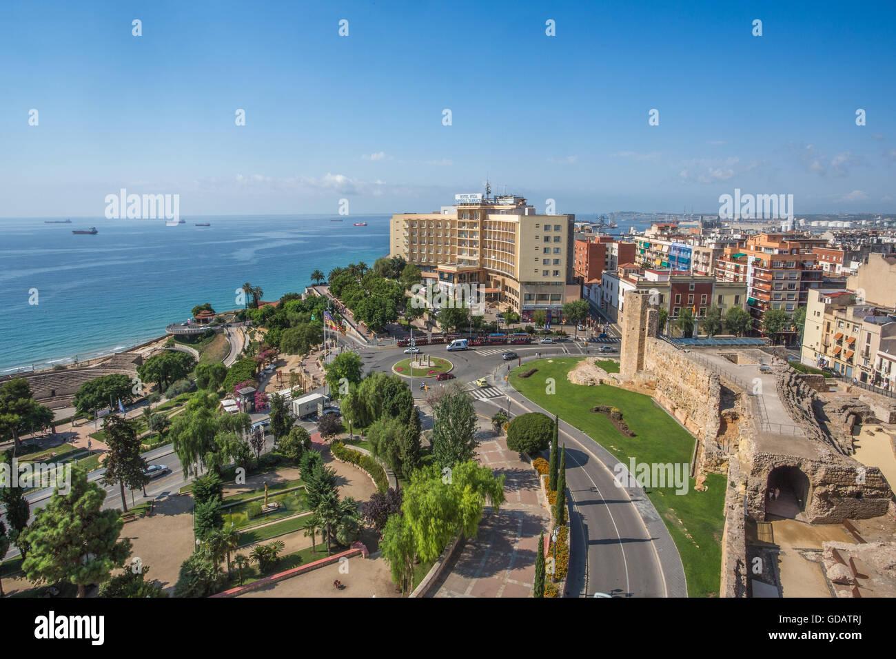 Spain,Catalonia,Tarragona City,Mediterranean sea, - Stock Image