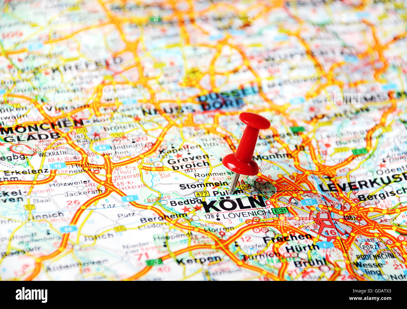 Close up of koln germany map with red pin travel concept stock close up of koln germany map with red pin travel concept gumiabroncs Choice Image