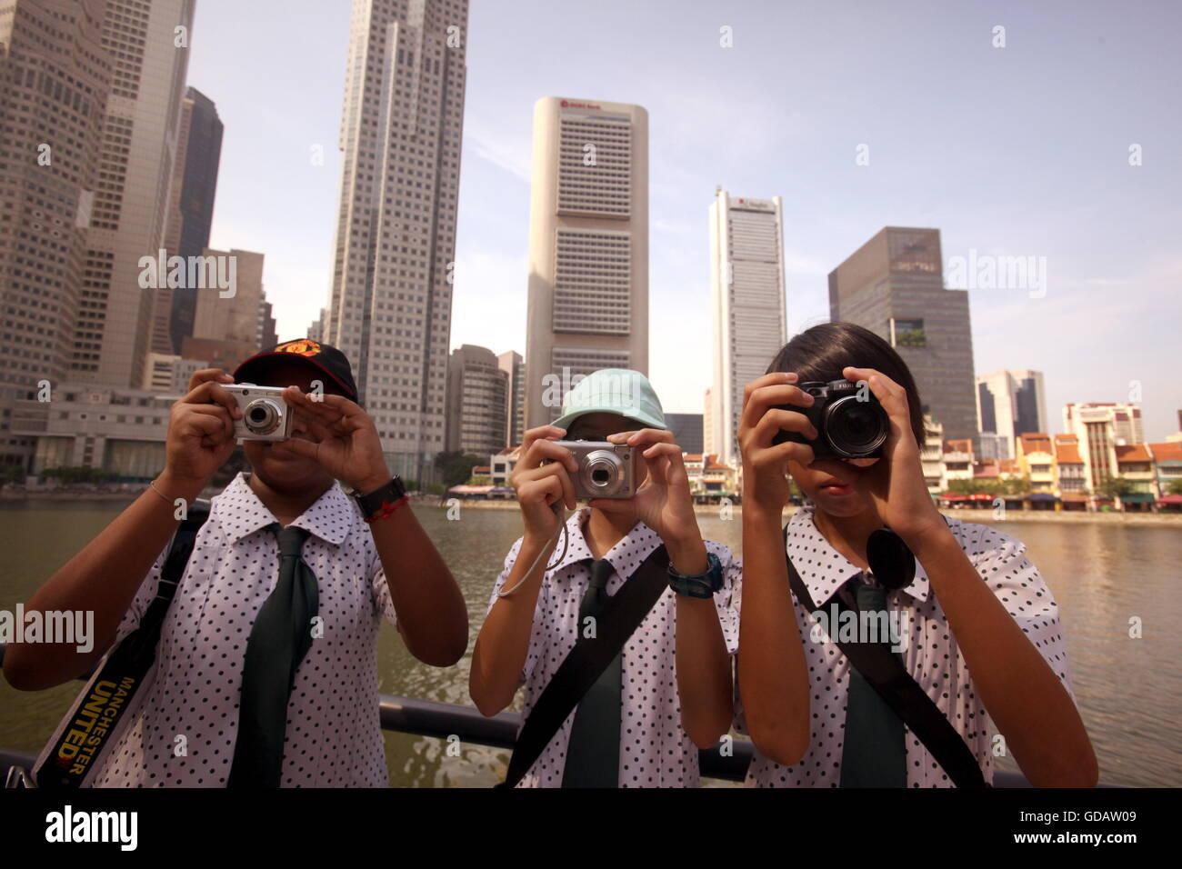 Die Skyline im Bankenviertel von Singapur im Inselstaat Singapur in Asien. - Stock Image