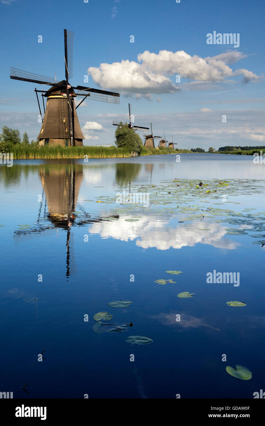 The windmills of Kinderdijk are one of the Dutch UNESCO world heritage sites - Stock Image