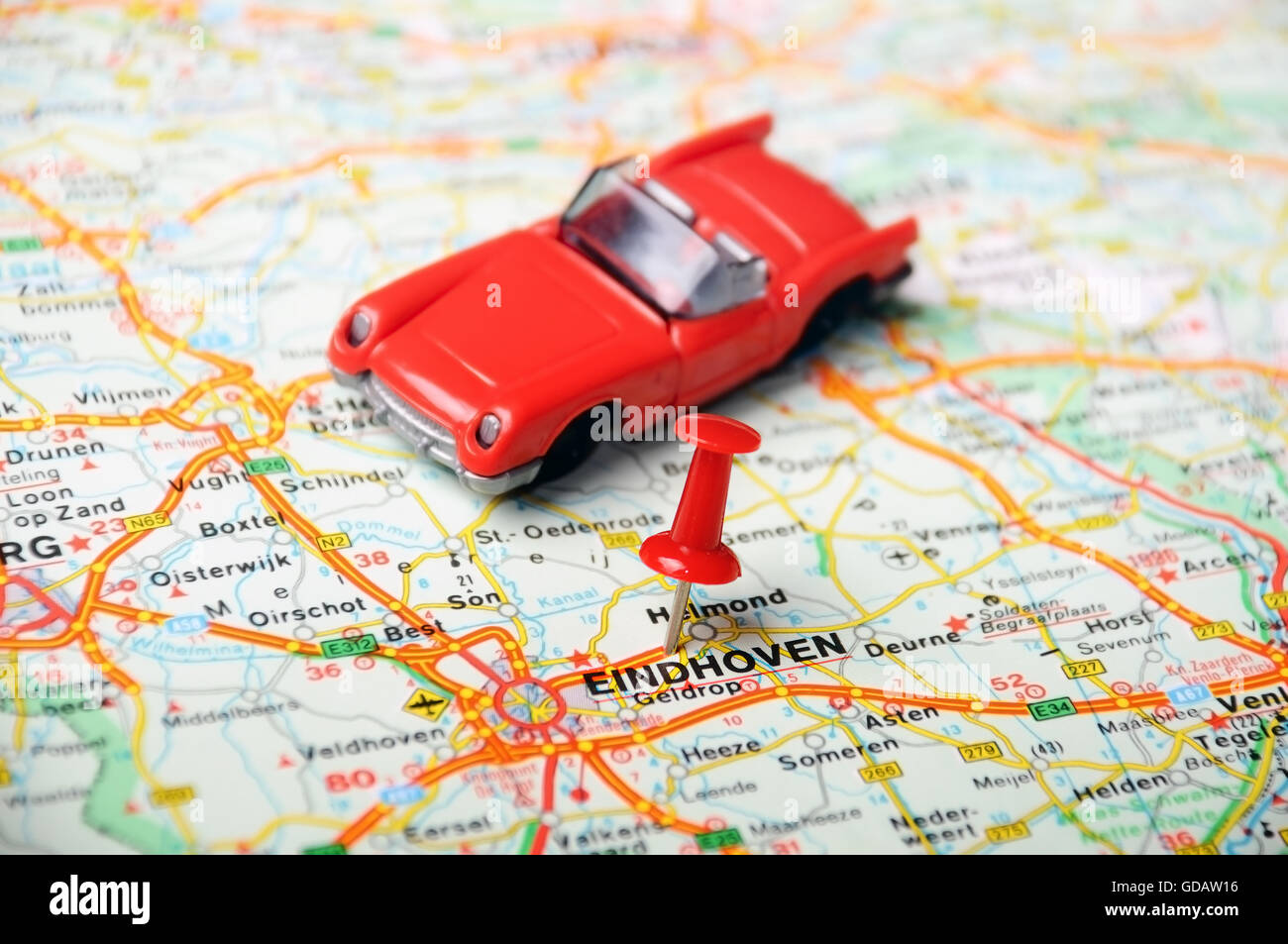 Close up of Eindhoven , Netherlands map with red pin and auto Stock ...