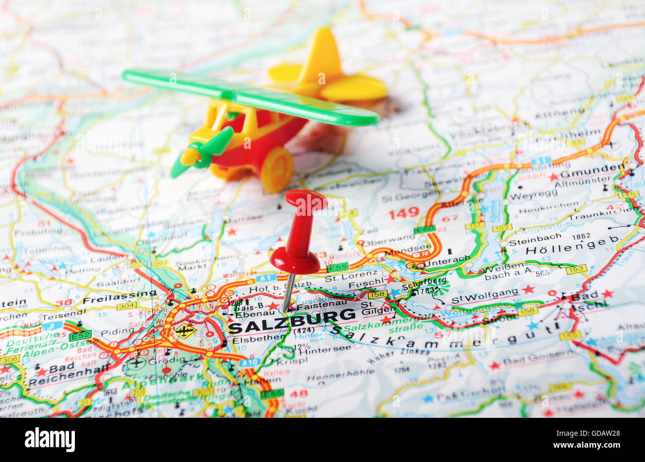 Close up of salzburg austria map with red pin and airplane stock close up of salzburg austria map with red pin and airplane travel concept gumiabroncs Images