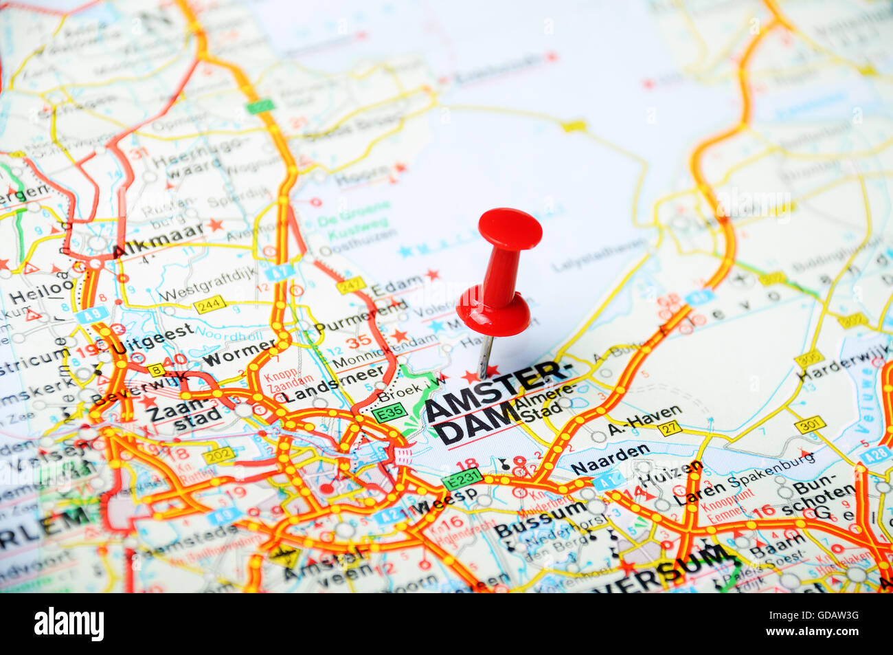 Close up of Amsterdam , Netherlands map with red pin ...