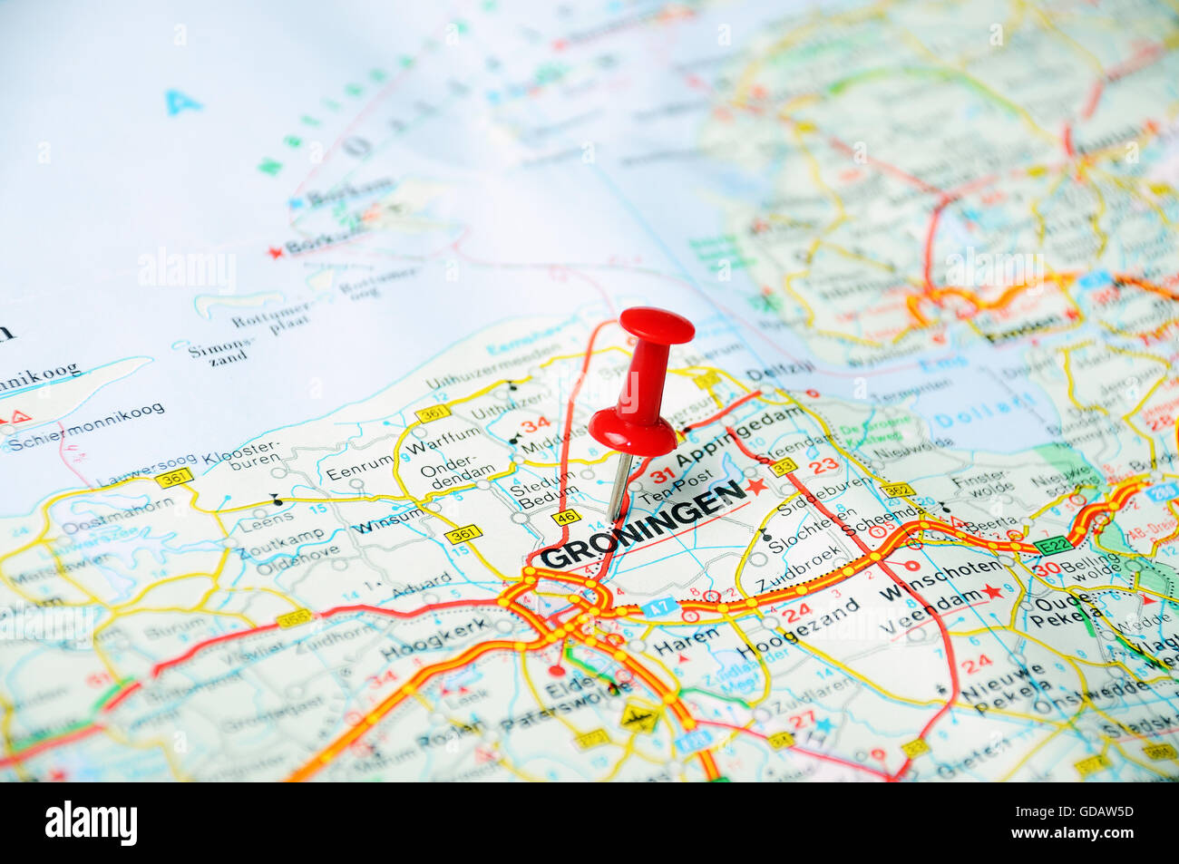 Close up of Groningen , Netherlands map with red pin - Travel Stock ...