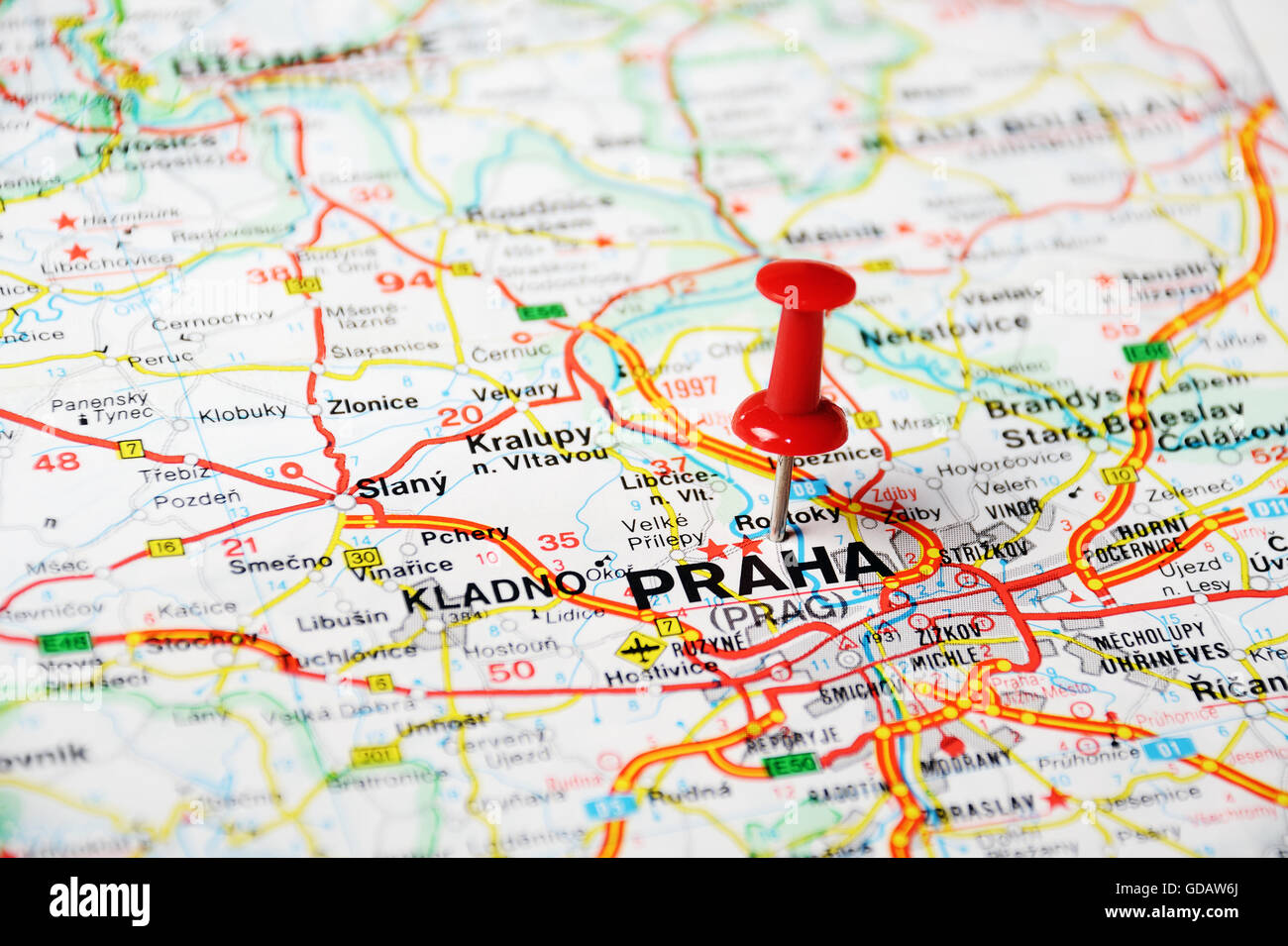 Close up of Prague, Czech Republic map with red pin - Travel Stock ...