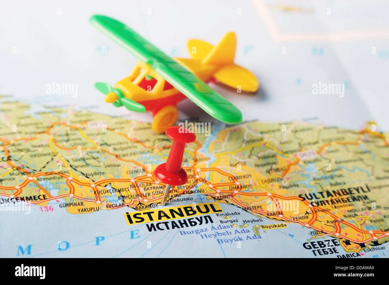Close up of Istanbul ,Turkey map with red pin and airplane Stock ...