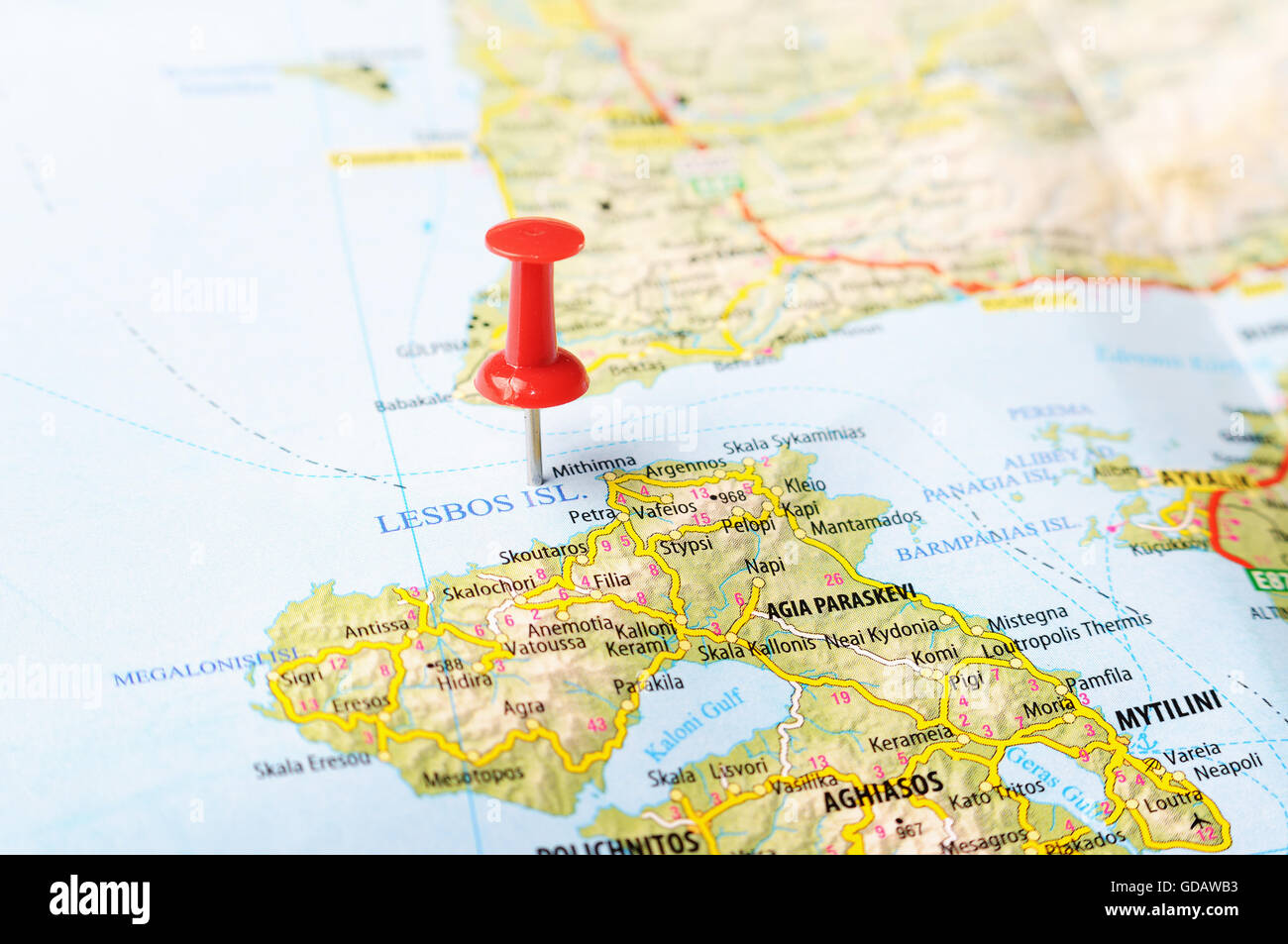 Close up of Lesbos island Greece map with red pin Travel concept