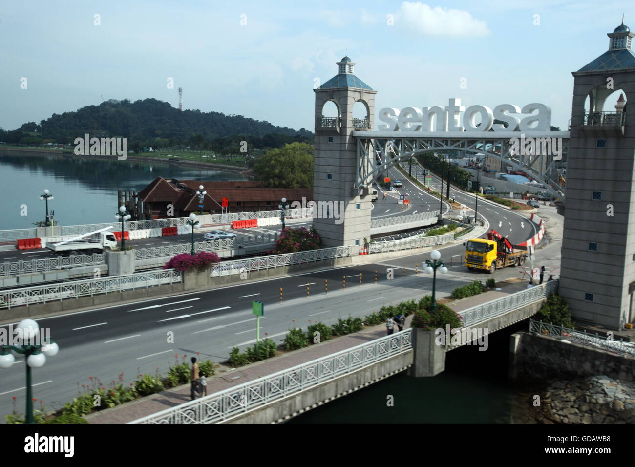 Asien, Suedost, Singapur, Insel, Staat, Stadt, City, Sentosa Island, Bruecke, Strasse, Autobahn, Stock Photo