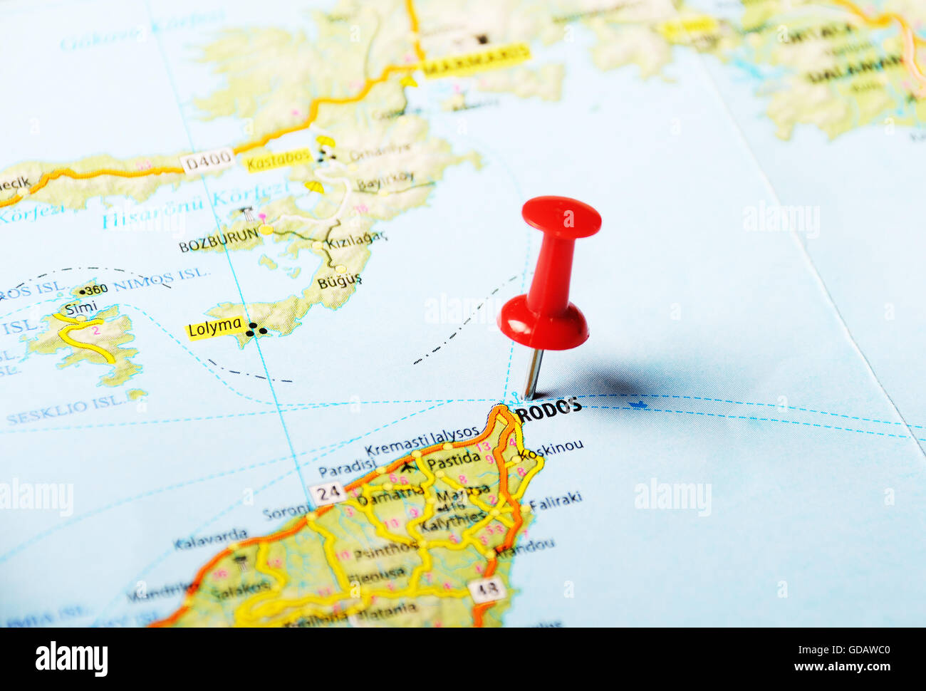 Rhodes Island Greece Map.Close Up Of Rhodes Island Greece Map With Red Pin Travel Stock