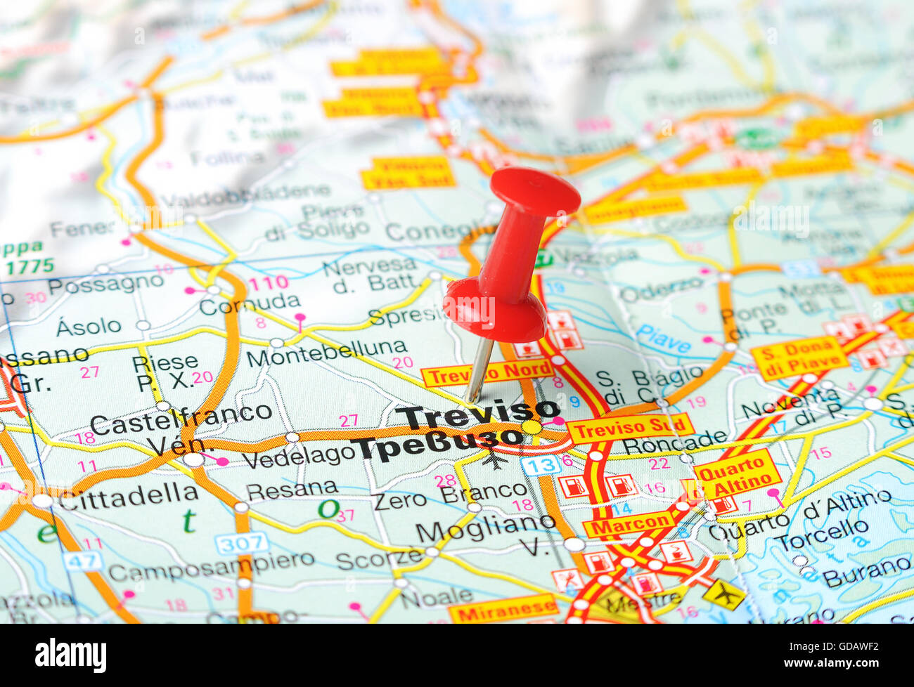 Close up of Treviso , Italy map with red pin - Travel concept Stock ...