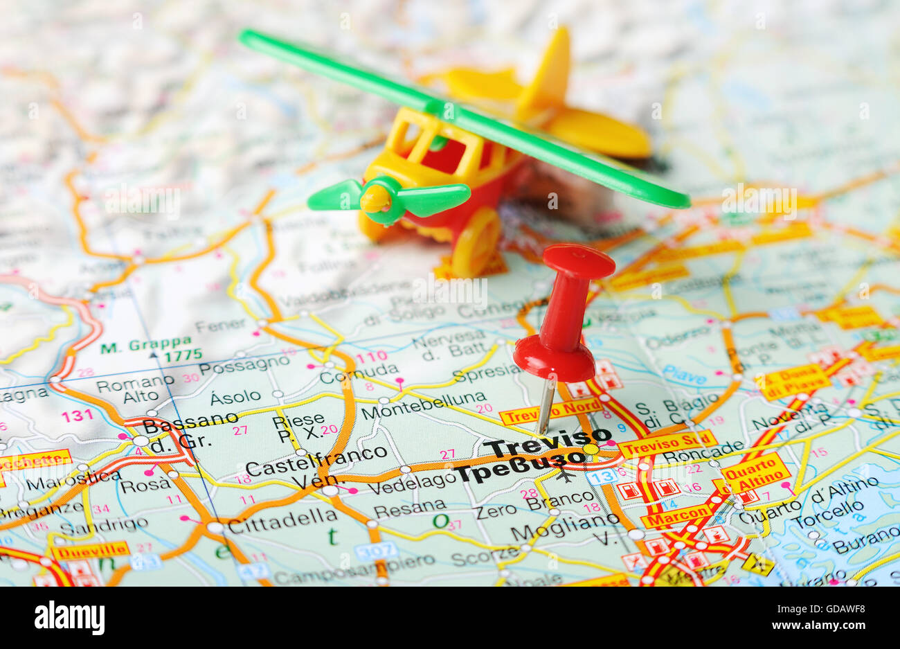 Close up of Treviso , Italy map with red pin and airplane Stock ...