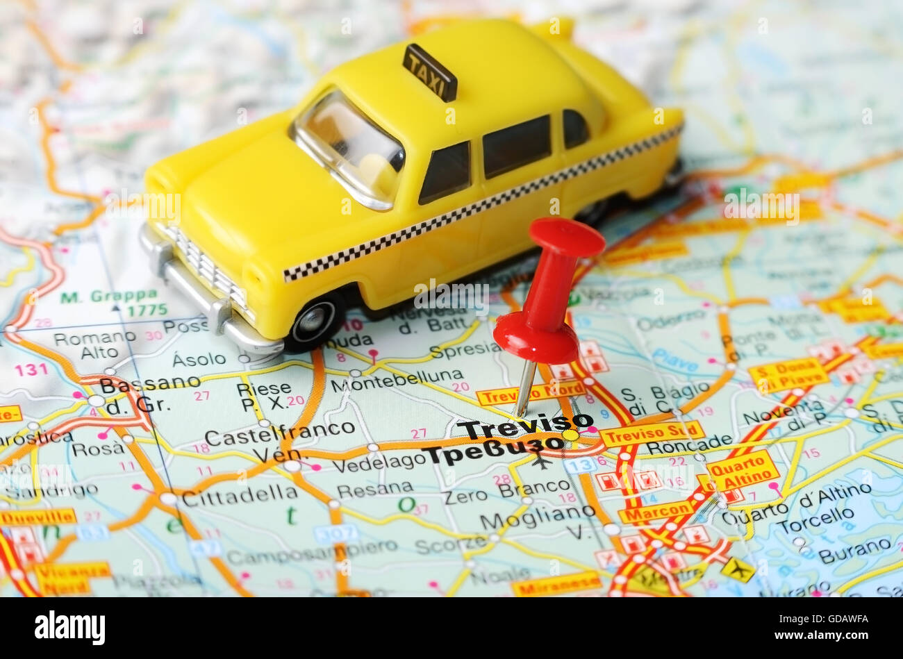 Close up of Treviso , Italy map with red pin and taxi - Travel Stock ...