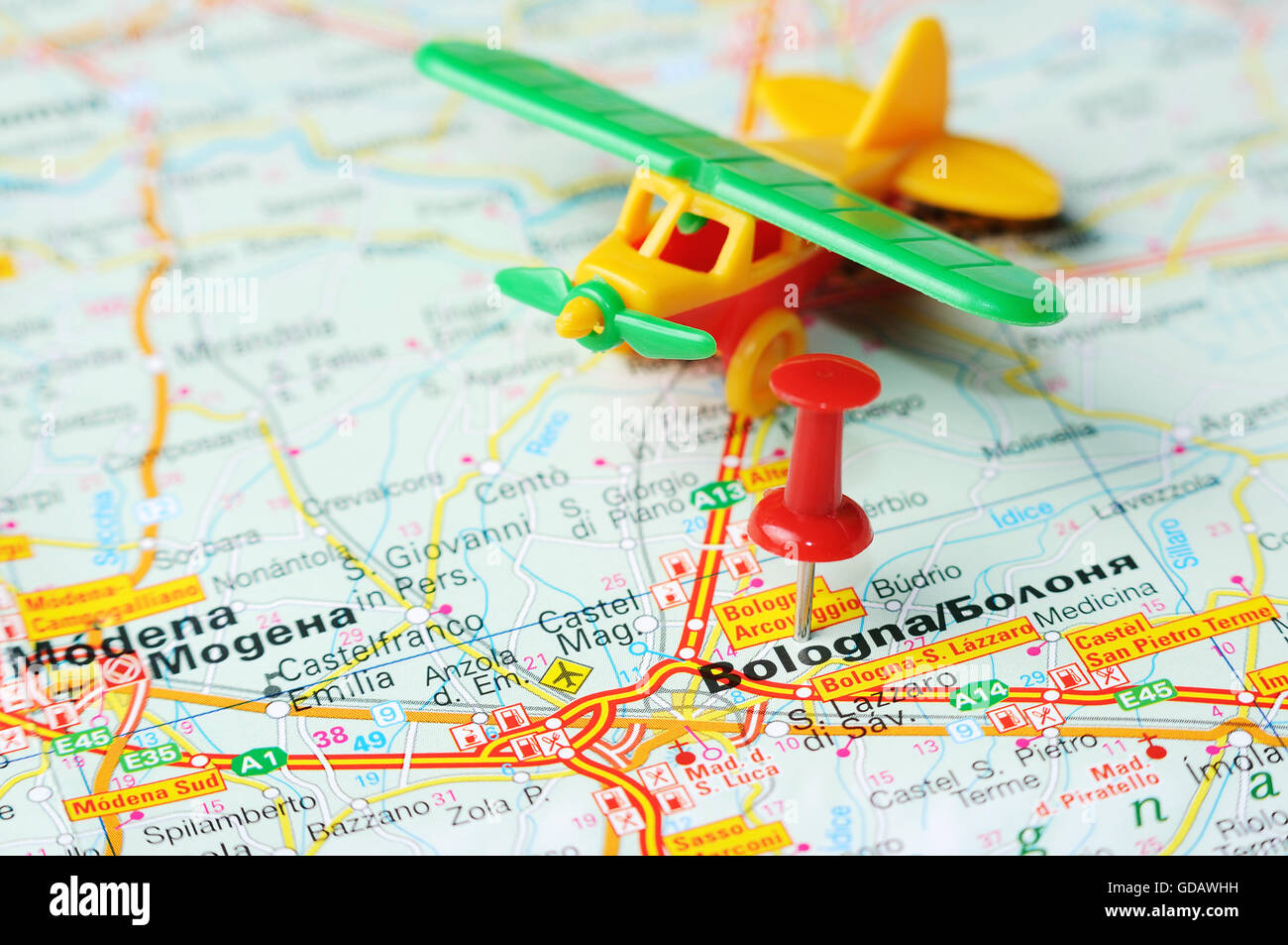 Bologna On Map Of Italy.Close Up Of Bologna Italy Map With Red Pin And Airplane Stock