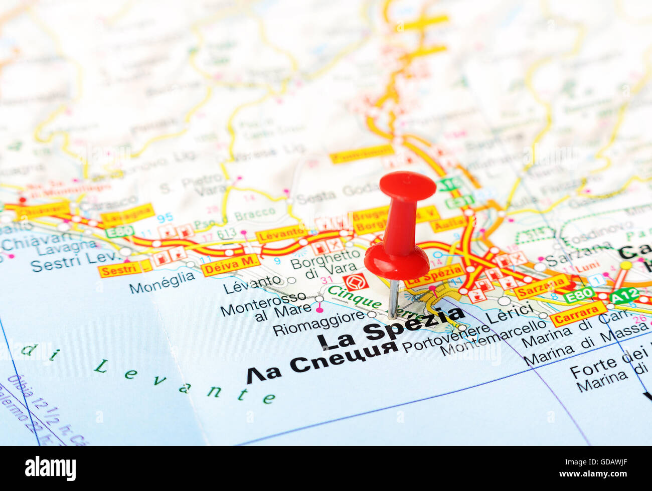 Close Up Of La Spezia Italy Map With Red Pin Travel
