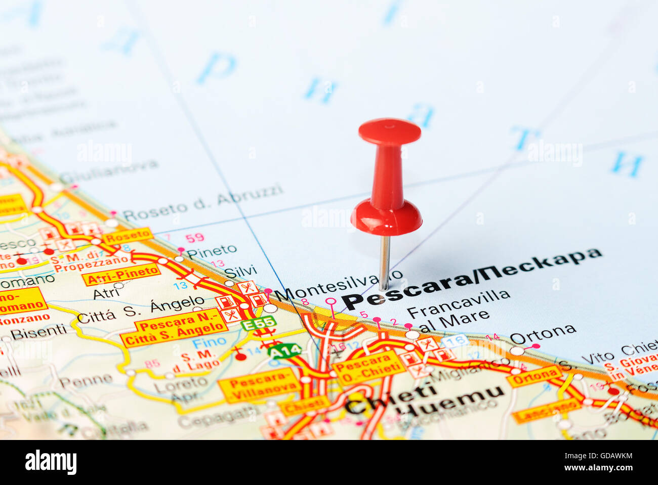 Close up of Pescara , Italy map with red pin - Travel concept Stock ...
