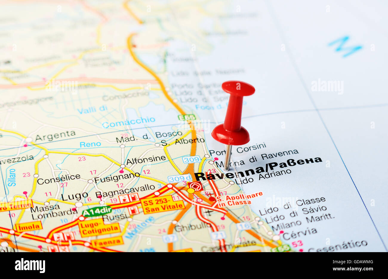 Close up of Ravenna Italy map with red pin Travel concept Stock