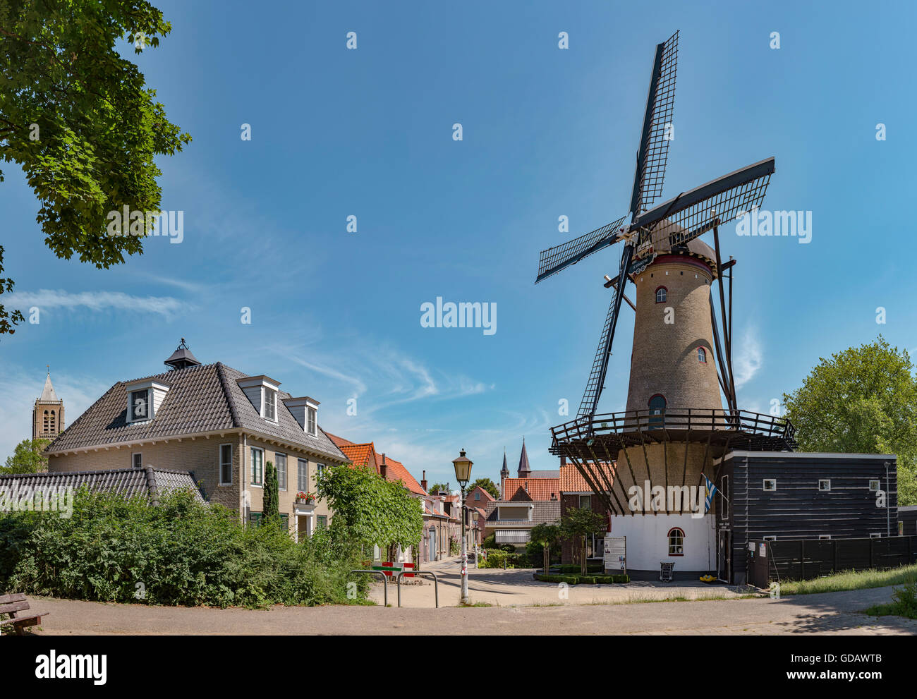 Tholen,Zeeland,The flax market with the tower mill called De Verwachting - Stock Image