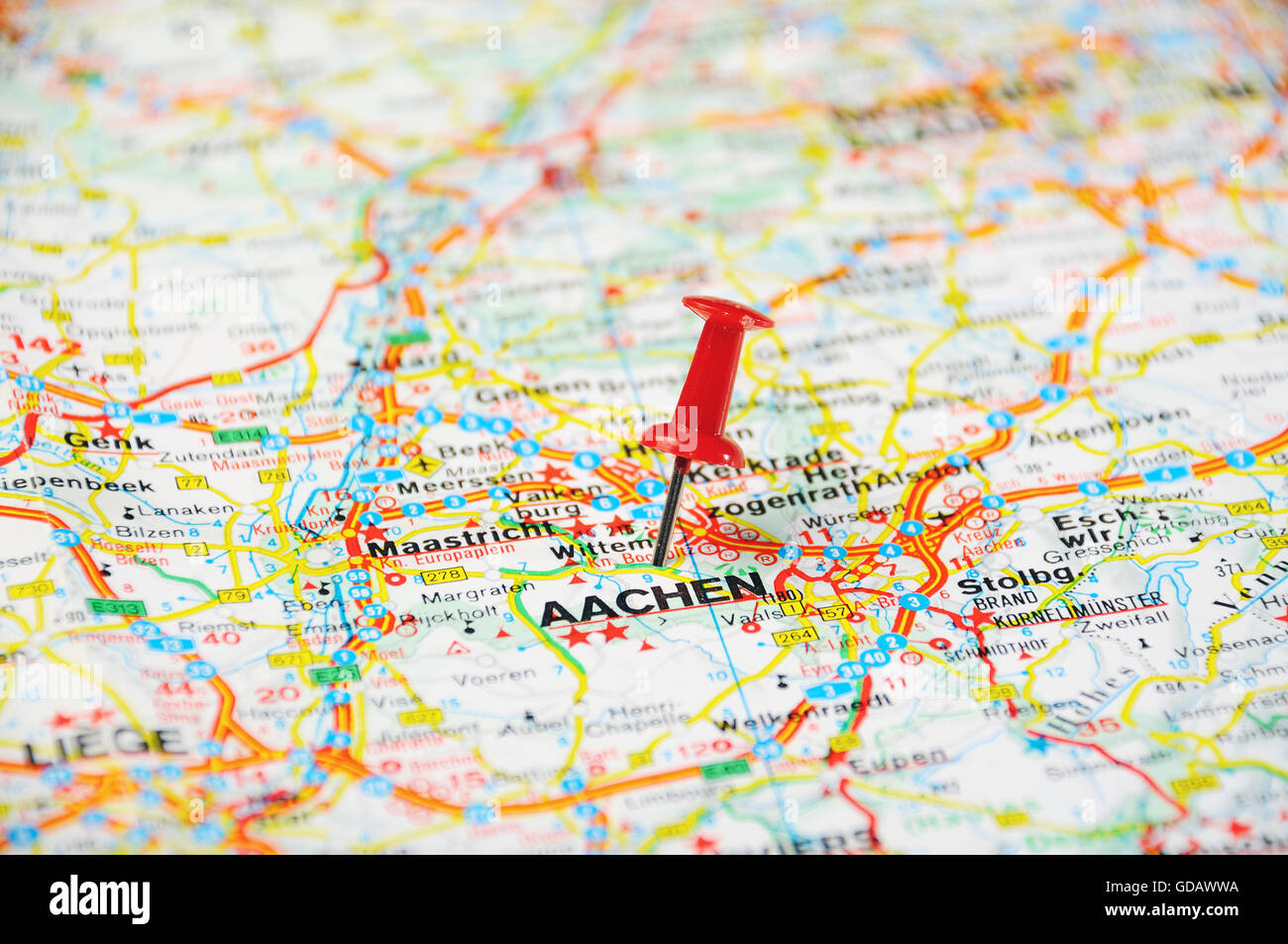 Red Push Pin Pointing At Aachen Belgium Map Stock Photo
