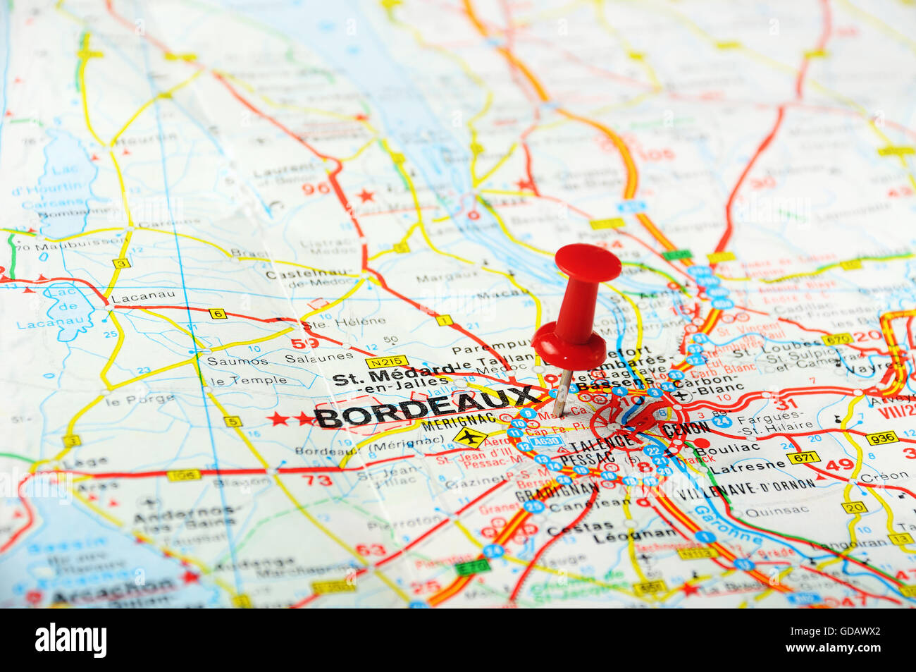 Bordeaux Map Of France.Red Push Pin Pointing At Bordeaux France Map Stock Photo