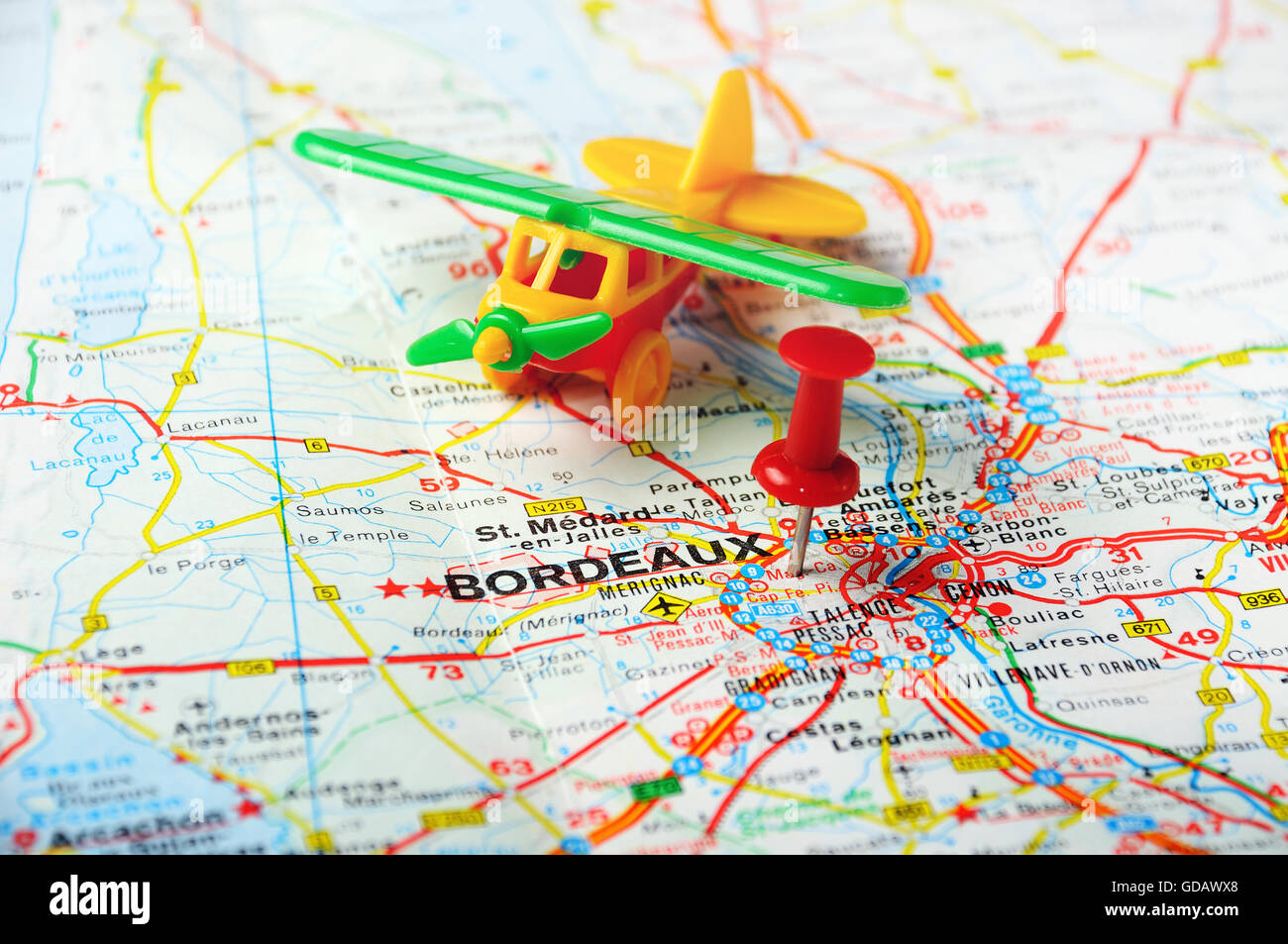 Bordeaux On Map Of France.Red Push Pin Pointing At Bordeaux France Map And Airplane Stock