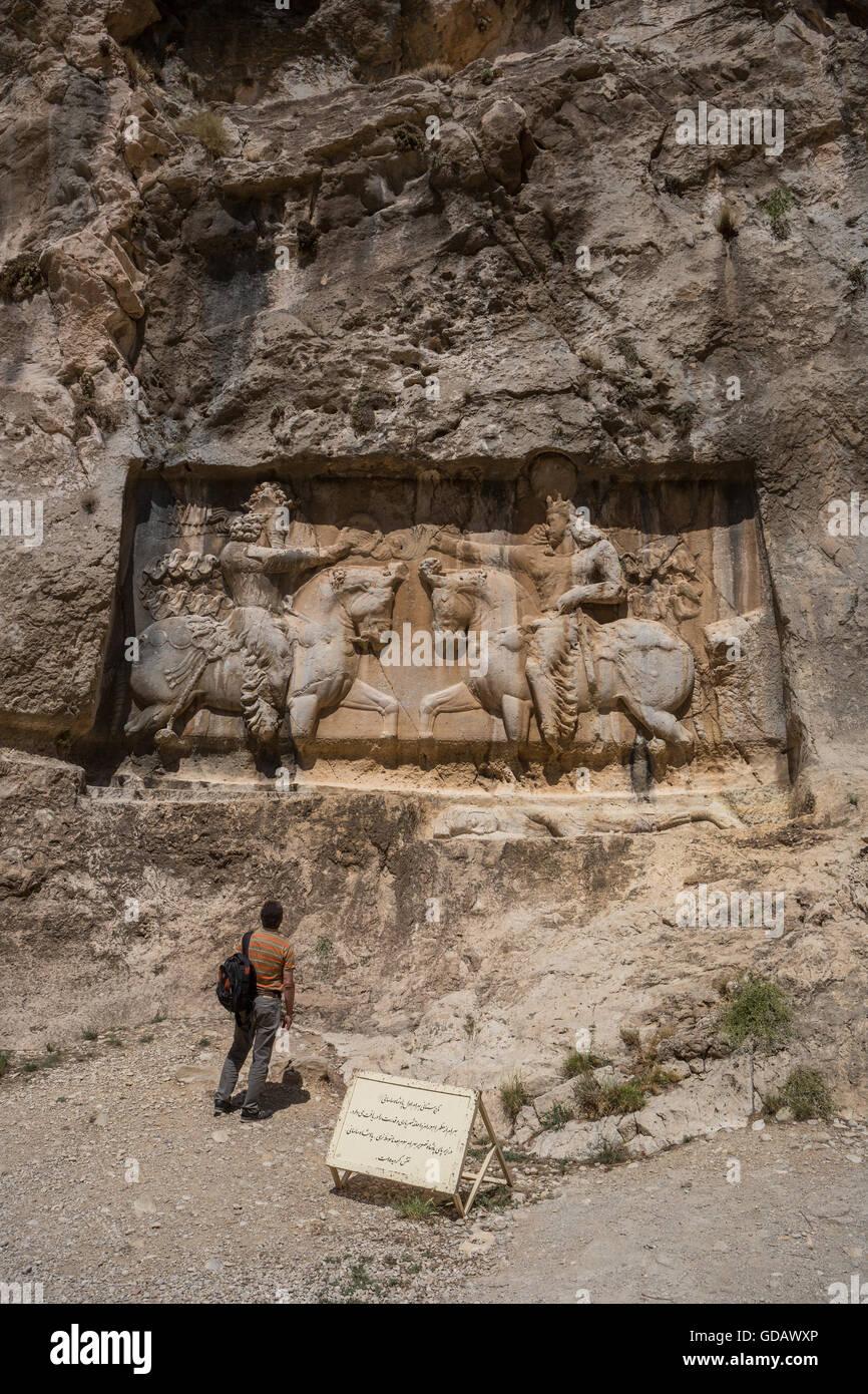 Iran,Ruins of Bishapur City bas-relief - Stock Image