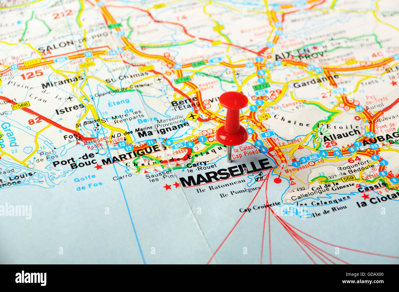 Red Push Pin Pointing At Marseille France Map Stock Photo